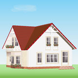 Modern detailed vector house with flowers. Cute realistic private house with red roof. Detailed vector house with red roof royalty free illustration