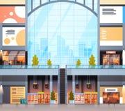 Modern Detailhandel Binnenlands Winkelcomplex zonder Mensen vector illustratie