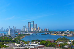 A modern development and Caribbean Sea in Cartagena, Colombia. Royalty Free Stock Image