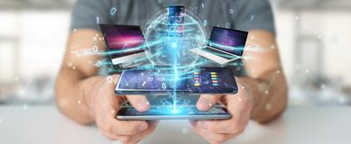 Modern devices connected in businessman hand 3D rendering Royalty Free Illustration