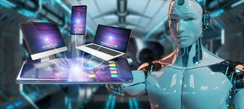 Modern devices connected in robot hand 3D rendering. Modern devices connected to each other in robot hand 3D rendering vector illustration