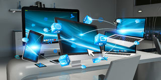 Modern devices on desktop interior 3D rendering Stock Photography