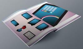 Modern Devices Magazine Mock-Up Royalty Free Stock Photos