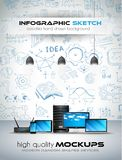Modern Devices mockup with Concept background with graphs sketches. A lot of hand drawn infographics and related design elements are included plus 3D glossy stock illustration