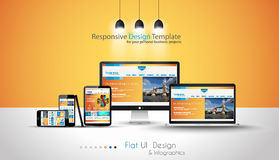 Modern devices mockups fpr your business projects. Webtemplates included Royalty Free Stock Photo