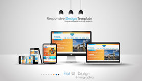Modern devices mockups fpr your business projects. Webtemplates included Stock Photos