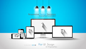 Modern devices mockups fpr your business projects. Webtemplates included Royalty Free Stock Image