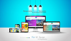 Modern devices mockups fpr your business projects. Webtemplates included Stock Image