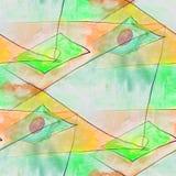 Modern diamond, circle, green seamless watercolor artist wallpap Stock Photography