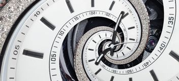 Modern diamond white clock watch clock hands twisted to surreal spiral. Abstract spiral fractal. Watch clock abstract texture patt stock images