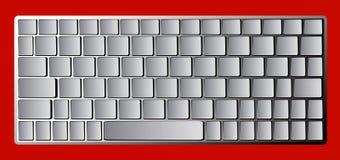 Modern die chroomlaptop bluetooth toetsenbord op rood wordt geïsoleerd Royalty-vrije Stock Foto