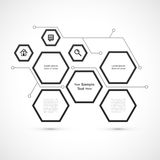 Modern die hexagon Webontwerp op witte achtergrond wordt geïsoleerd royalty-vrije illustratie