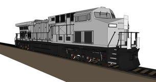 Modern diesel- järnväg lokomotiv med stormakt och styrka för att flytta sig länge och tungt järnvägdrev Vektorillustration med vektor illustrationer