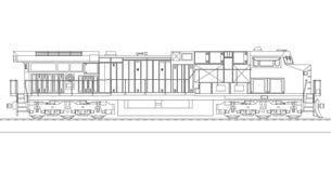 Modern diesel- järnväg lokomotiv med stormakt och styrka för att flytta sig länge och tungt järnvägdrev Vektorillustration med royaltyfri illustrationer
