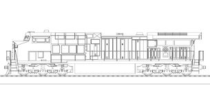 Modern diesel- järnväg lokomotiv med stormakt och styrka för att flytta sig länge och tungt järnvägdrev Vektorillustration med stock illustrationer
