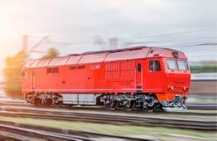 Modern diesel locomotive train railway in motion speed, shunting work. Royalty Free Stock Photo