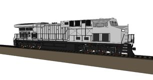 Modern diesel railway locomotive with great power and strength for moving long and heavy railroad train. Vector illustration with. Outline stroke lines Royalty Free Stock Photography