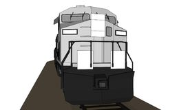 Modern diesel railway locomotive with great power and strength for moving long and heavy railroad train. Vector illustration with. Outline stroke lines Stock Images