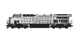 Modern diesel railway locomotive with great power and strength for moving long and heavy railroad train. Vector illustration with. Outline stroke lines Stock Photography