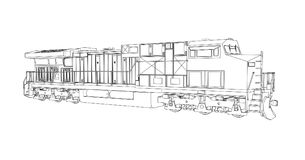 Modern diesel railway locomotive with great power and strength for moving long and heavy railroad train. Vector illustration with. Outline stroke lines Stock Image