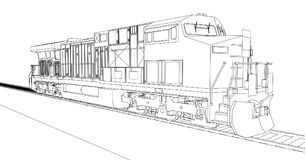 Modern diesel railway locomotive with great power and strength for moving long and heavy railroad train. Vector illustration with. Outline stroke lines Royalty Free Stock Photo