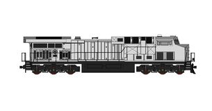 Modern diesel railway locomotive with great power and strength for moving long and heavy railroad train. Vector illustration with. Outline stroke lines Royalty Free Stock Images
