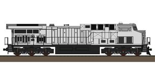 Modern diesel railway locomotive with great power and strength for moving long and heavy railroad train. Vector illustration with. Outline stroke lines Stock Photo