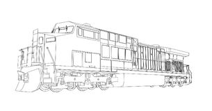 Modern diesel railway locomotive with great power and strength for moving long and heavy railroad train. Vector illustration with. Outline stroke lines Royalty Free Stock Photos