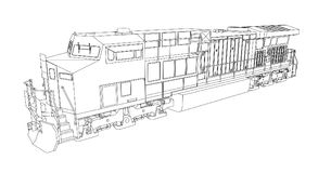 Modern diesel railway locomotive with great power and strength for moving long and heavy railroad train. Vector illustration with. Outline stroke lines Stock Photos