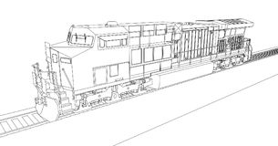Modern diesel railway locomotive with great power and strength for moving long and heavy railroad train. Vector illustration with. Outline stroke lines stock illustration