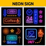 Modern Digital Advertising Neon Signs Concept Stock Images