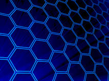 Modern Digital Age Abstract Background. Modern Digital Abstract Background with Blue Hexagons and lighting effects Vector Illustration