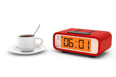 Modern Digital Alarm Clock with Coffee Cup Stock Photo