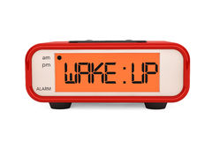 Modern Digital Alarm Clock with Wake Up Sign Royalty Free Stock Photos