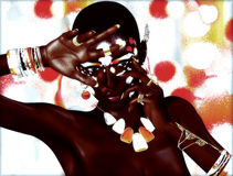 Modern Digital Art Image of a Beautiful African Woman. A modern digital art image of a beautiful african woman posing against a white,red,orange and yellow Stock Image