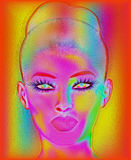 Modern digital art image of a woman's face, close up with colorful abstract background Royalty Illustrazione gratis