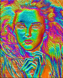 Modern digital art image of a woman's face, close up with colorful abstract background illustrazione di stock
