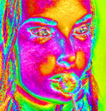 Modern digital art image of a woman's face, close up with colorful abstract background Fotografie Stock