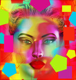 Modern digital art image of a woman's face, close up with colorful abstract background Illustrazione Vettoriale