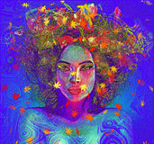 Modern digital art image of a woman's face, close up with colorful abstract background. Colorful leaves and swirls create an abstract effect for this beautiful Stock Images