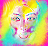 Modern digital art image of a woman's face, close up with colorful abstract background. Royalty Free Stock Images