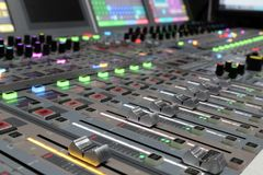 Modern Digital broadcast audio mixing console royalty free stock images