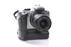 Modern Digital Camera. Digital SLR photo - trademarks removed Stock Photo
