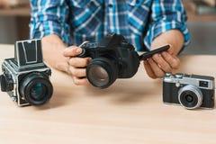 Modern digital camera presentation close-up Royalty Free Stock Images