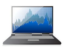 Modern digital computer with stock market. Application illustration Stock Photography