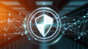 Modern digital data shield antivirus 3D rendering. Modern digital data shield antivirus on server background 3D rendering Stock Photography
