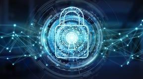 Modern digital data shield antivirus 3D rendering. Modern digital data shield antivirus on server background 3D rendering Royalty Free Stock Photo