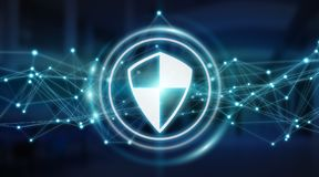 Modern digital data shield antivirus 3D rendering. Modern digital data shield antivirus on server background 3D rendering Stock Images