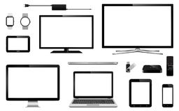 Modern smart tv, computer monitor, laptop, tablet, mobile phone, smart watch, usb flash drive, gps navigation system device and tv Royalty Free Stock Photography