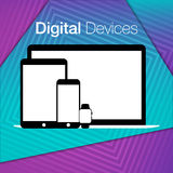 Modern digital devices sets geometric background Royalty Free Stock Images